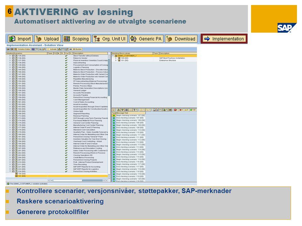 6 AKTIVERING av løsning Automatisert aktivering av de utvalgte scenariene. Kontrollere scenarier, versjonsnivåer, støttepakker, SAP-merknader.