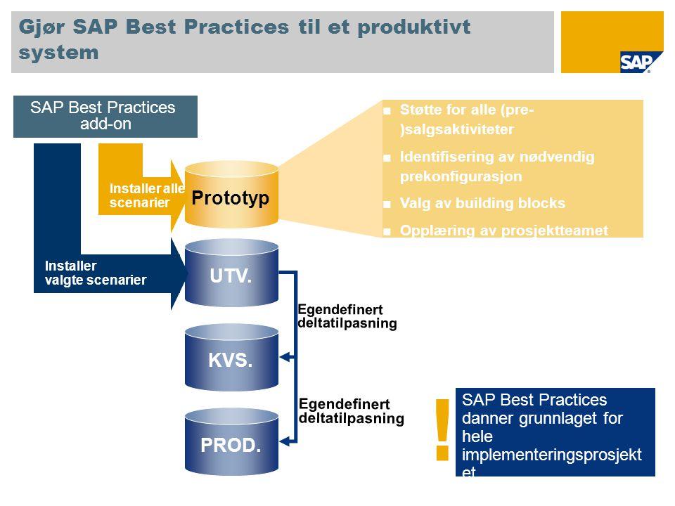 Gjør SAP Best Practices til et produktivt system