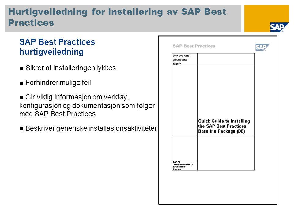 Hurtigveiledning for installering av SAP Best Practices