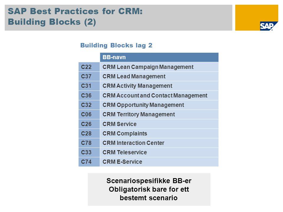 SAP Best Practices for CRM: Building Blocks (2)