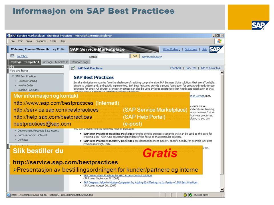 Informasjon om SAP Best Practices