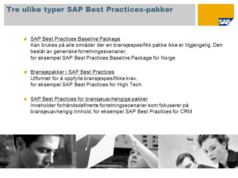 Tre ulike typer SAP Best Practices-pakker