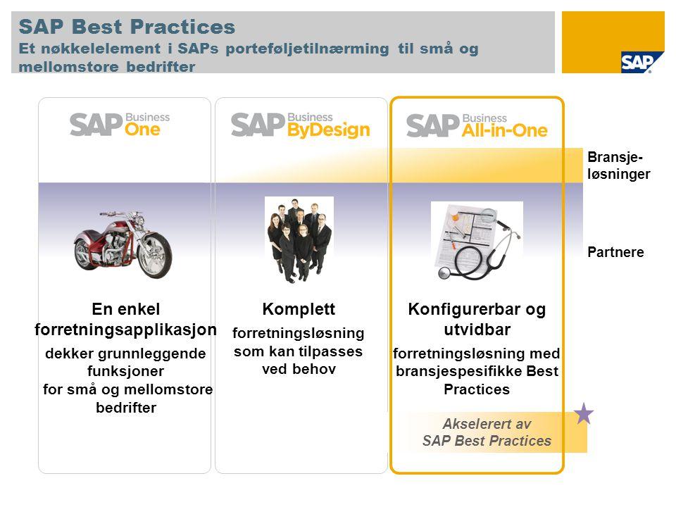 SAP Best Practices Et nøkkelelement i SAPs porteføljetilnærming til små og mellomstore bedrifter