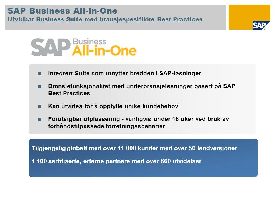 SAP Business All-in-One Utvidbar Business Suite med bransjespesifikke Best Practices