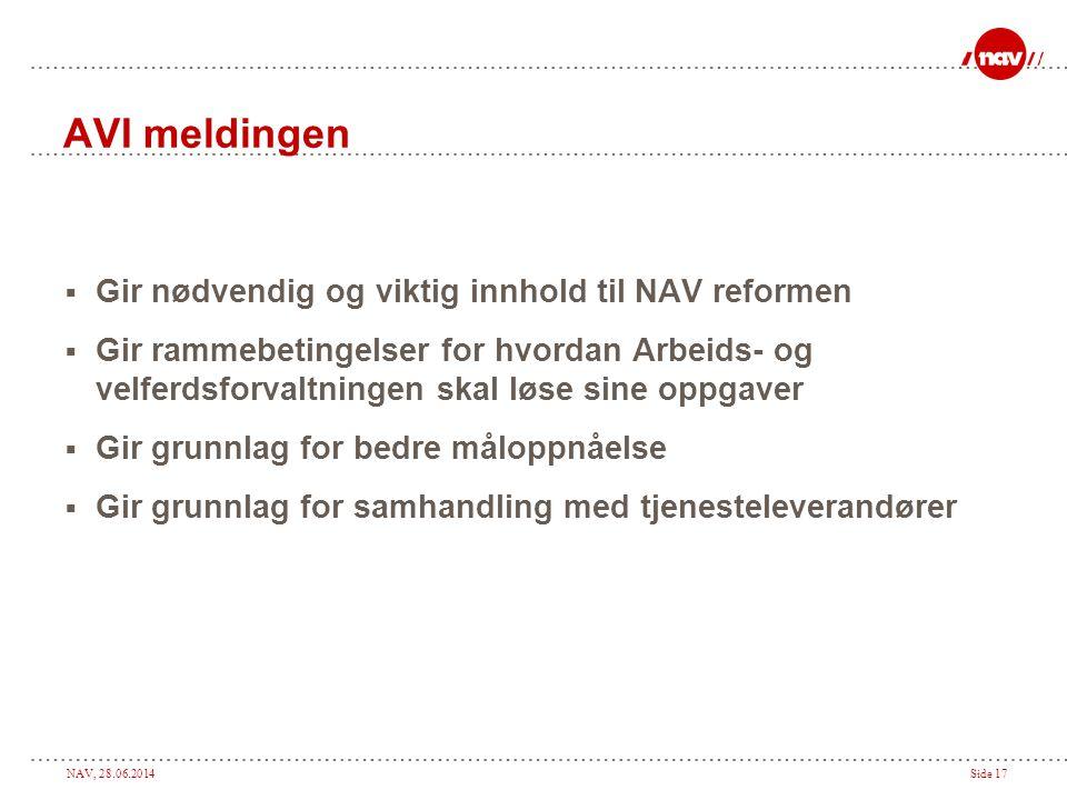 AVI meldingen Gir nødvendig og viktig innhold til NAV reformen