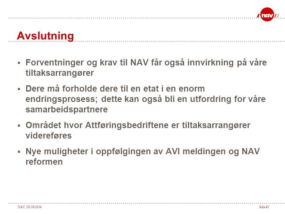 Avslutning Forventninger og krav til NAV får også innvirkning på våre tiltaksarrangører.