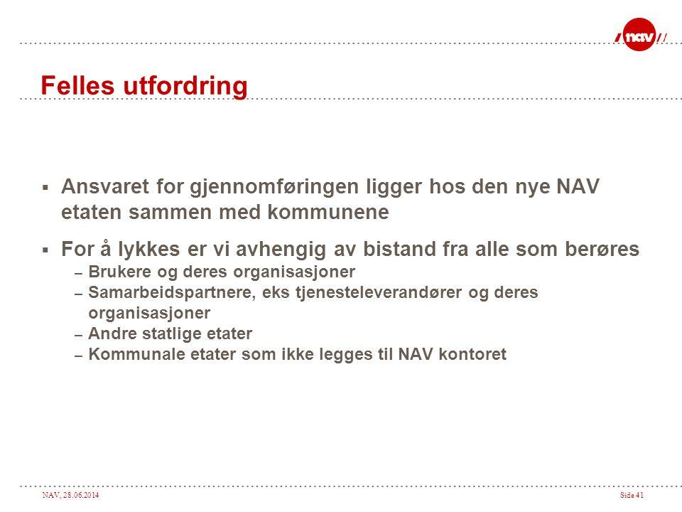 Felles utfordring Ansvaret for gjennomføringen ligger hos den nye NAV etaten sammen med kommunene.