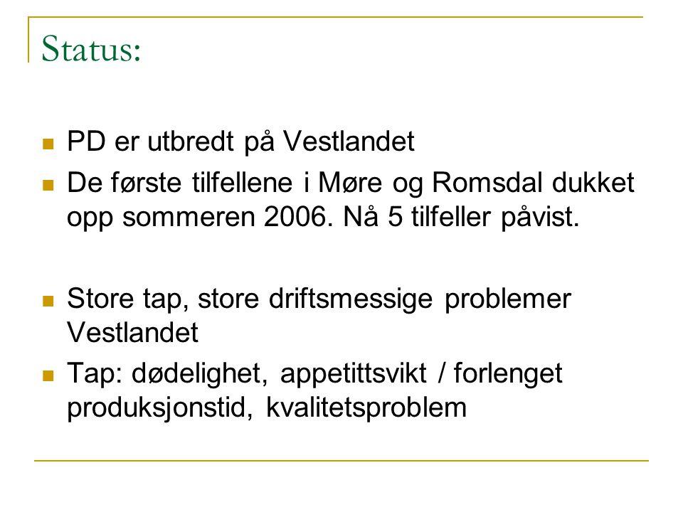 Status: PD er utbredt på Vestlandet