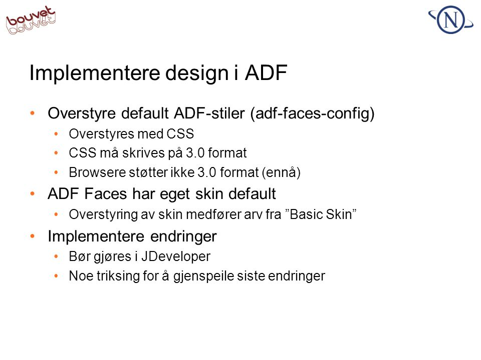 Implementere design i ADF