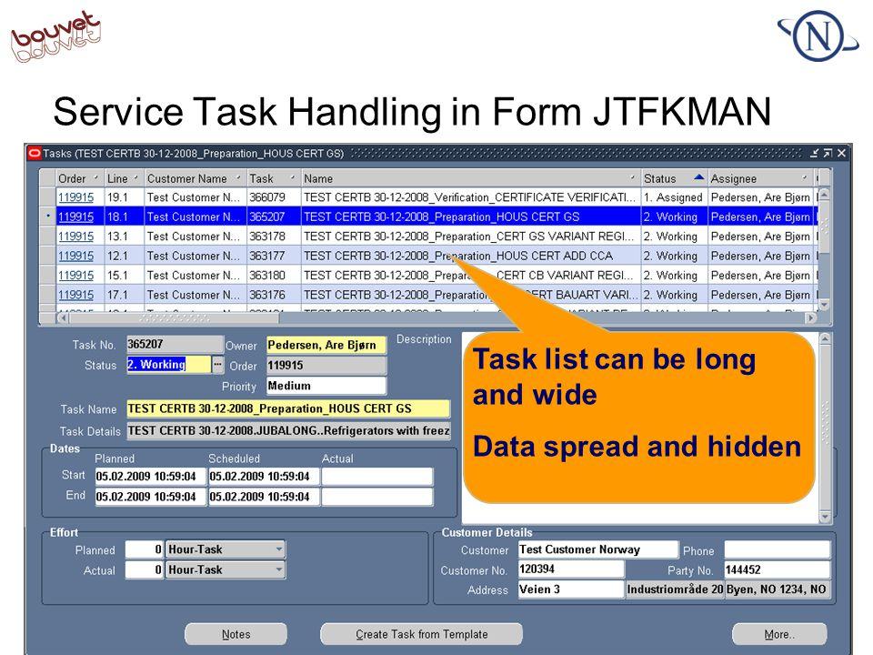 Service Task Handling in Form JTFKMAN