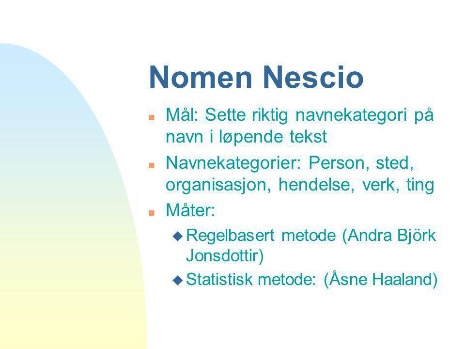Nomen Nescio Mål: Sette riktig navnekategori på navn i løpende tekst