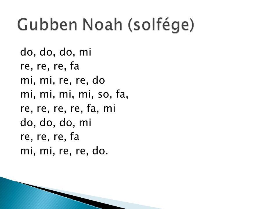 Gubben Noah (solfége) do, do, do, mi re, re, re, fa mi, mi, re, re, do mi, mi, mi, mi, so, fa, re, re, re, re, fa, mi mi, mi, re, re, do.