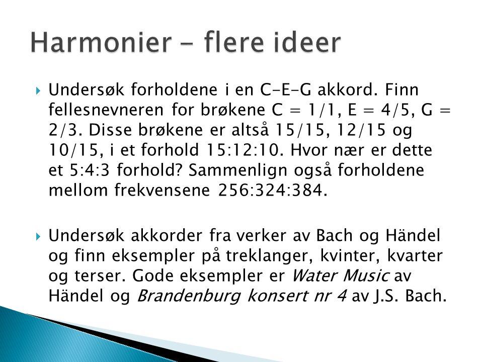 Harmonier - flere ideer