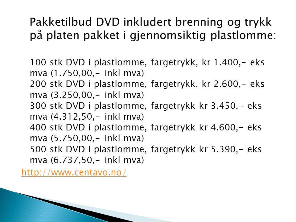Pakketilbud DVD inkludert brenning og trykk på platen pakket i gjennomsiktig plastlomme: