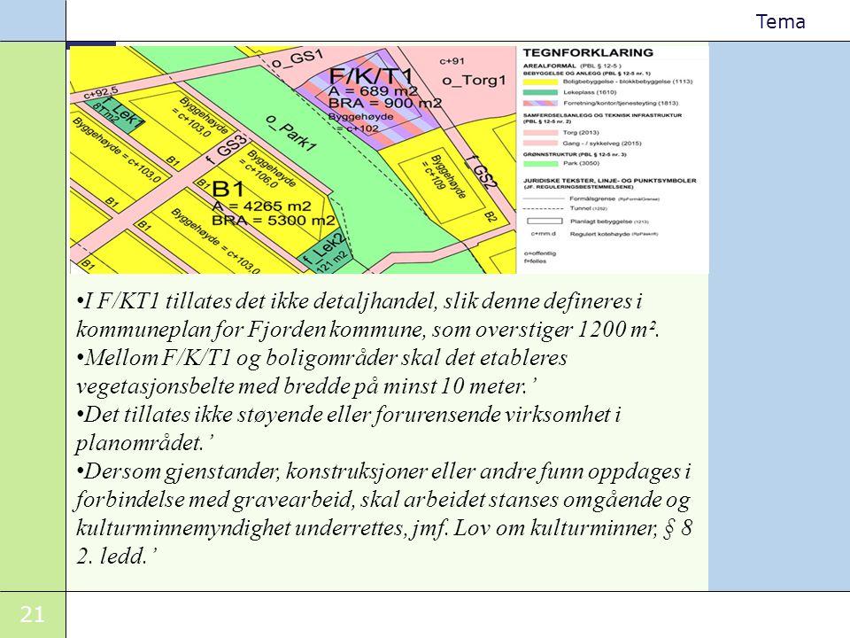 I F/KT1 tillates det ikke detaljhandel, slik denne defineres i kommuneplan for Fjorden kommune, som overstiger 1200 m².