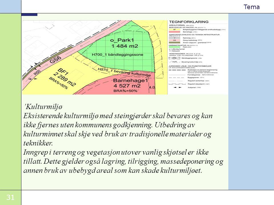 'Kulturmiljø Eksisterende kulturmiljø med steingjerder skal bevares og kan ikke fjernes uten kommunens godkjenning. Utbedring av kulturminnet skal skje ved bruk av tradisjonelle materialer og teknikker.