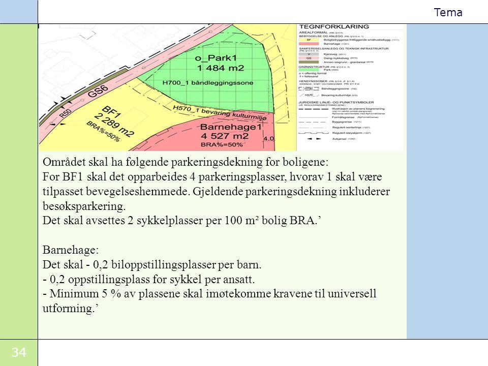 Området skal ha følgende parkeringsdekning for boligene: