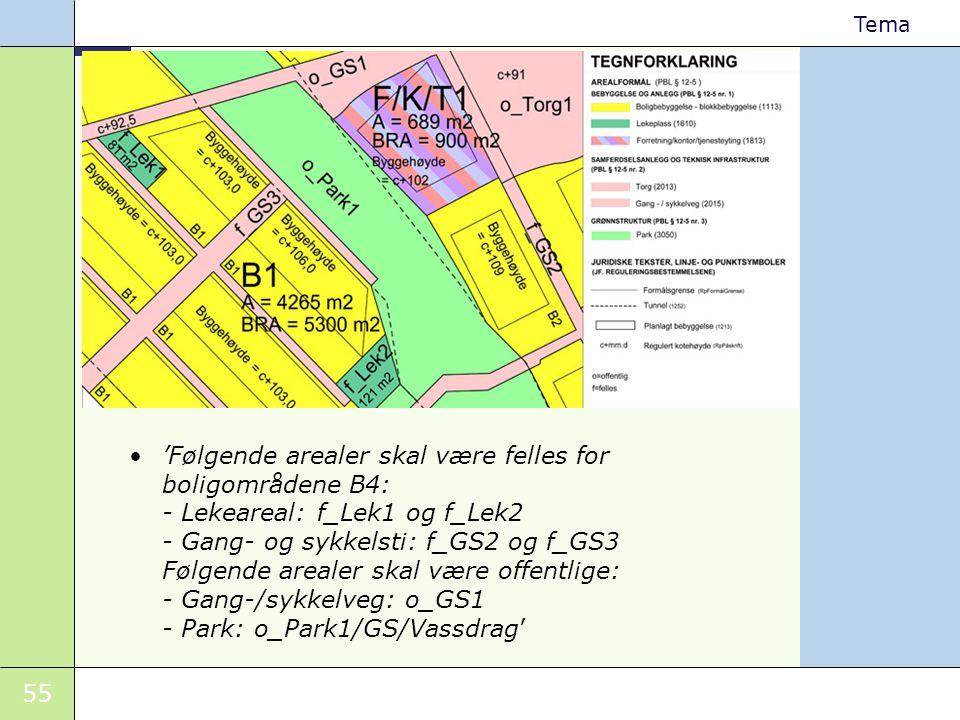 'Følgende arealer skal være felles for boligområdene B4: - Lekeareal: f_Lek1 og f_Lek2 - Gang- og sykkelsti: f_GS2 og f_GS3 Følgende arealer skal være offentlige: - Gang-/sykkelveg: o_GS1 - Park: o_Park1/GS/Vassdrag'