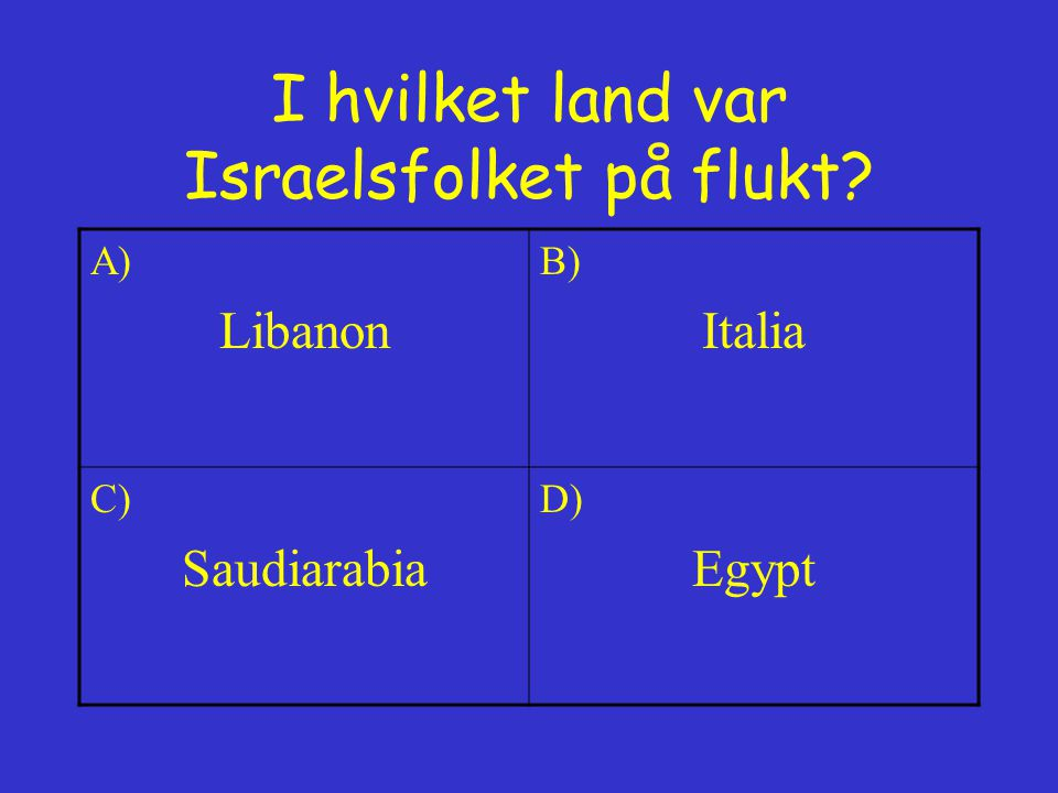 I hvilket land var Israelsfolket på flukt