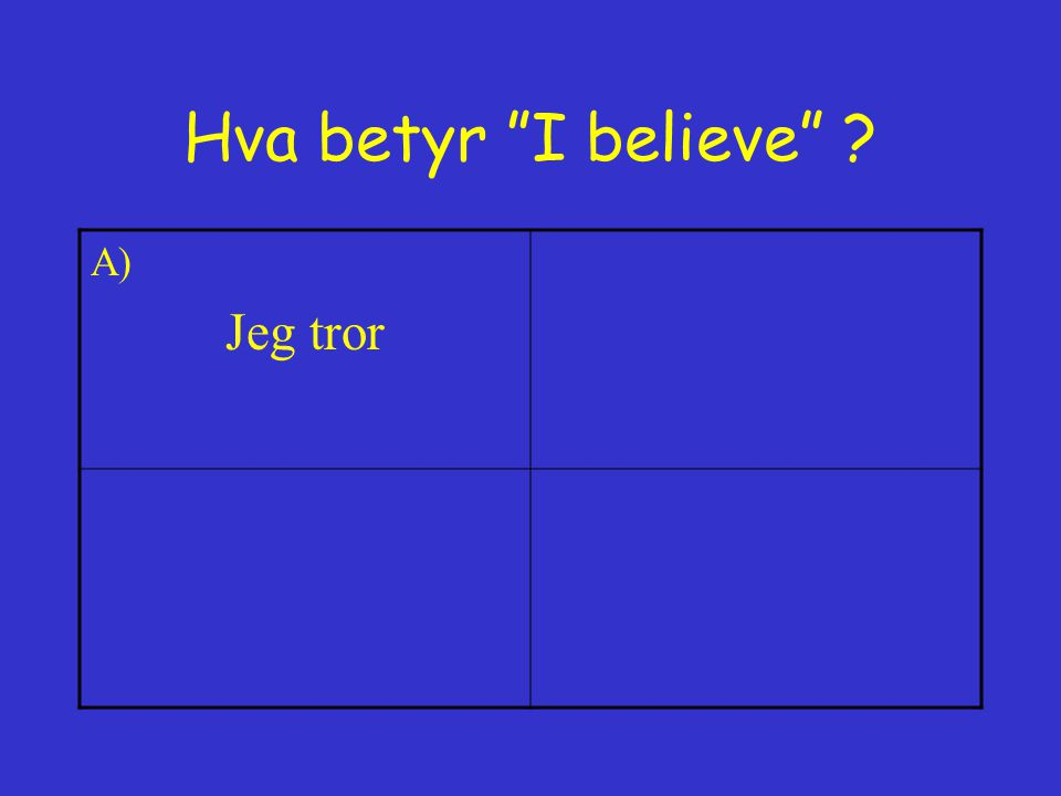 Hva betyr I believe A) Jeg tror