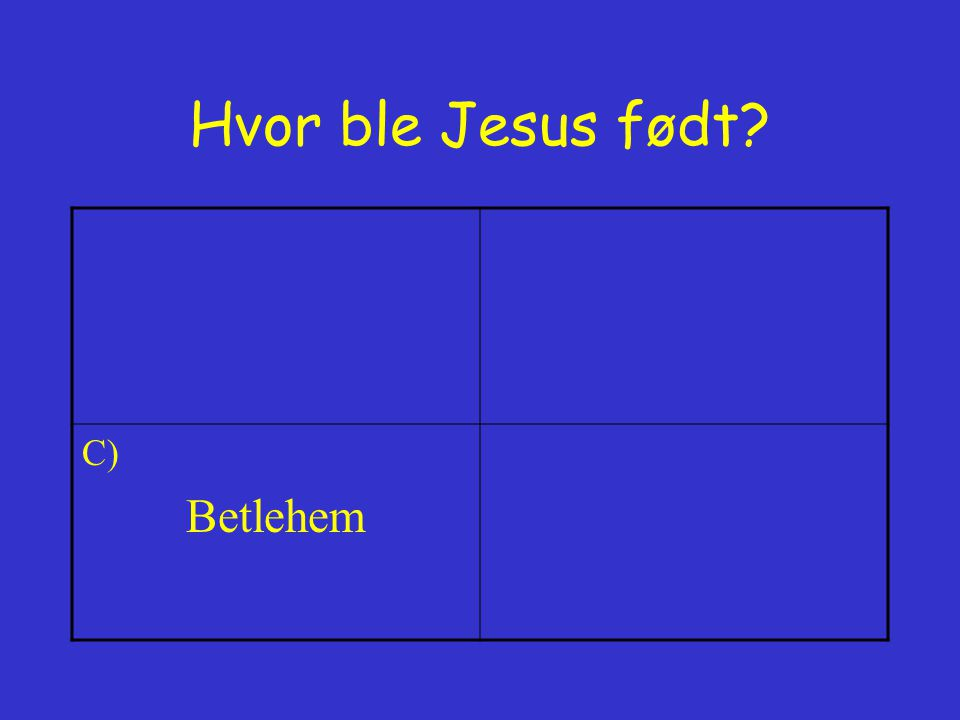 Hvor ble Jesus født C) Betlehem