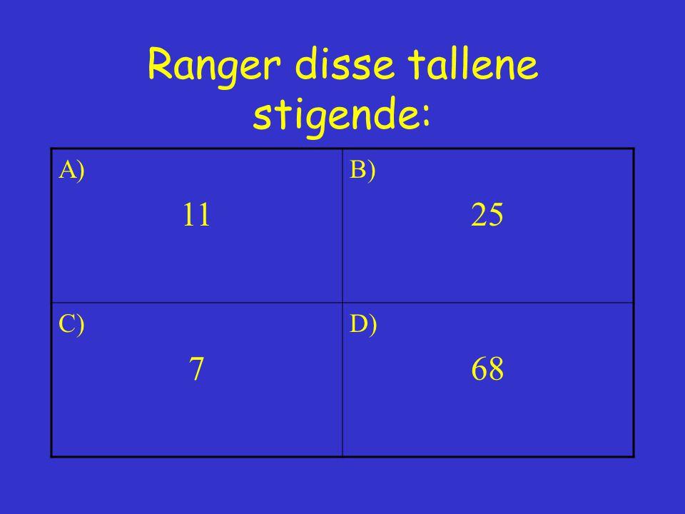 Ranger disse tallene stigende: