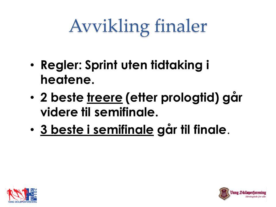 Avvikling finaler Regler: Sprint uten tidtaking i heatene.