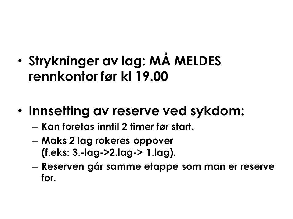 Strykninger av lag: MÅ MELDES rennkontor før kl 19.00
