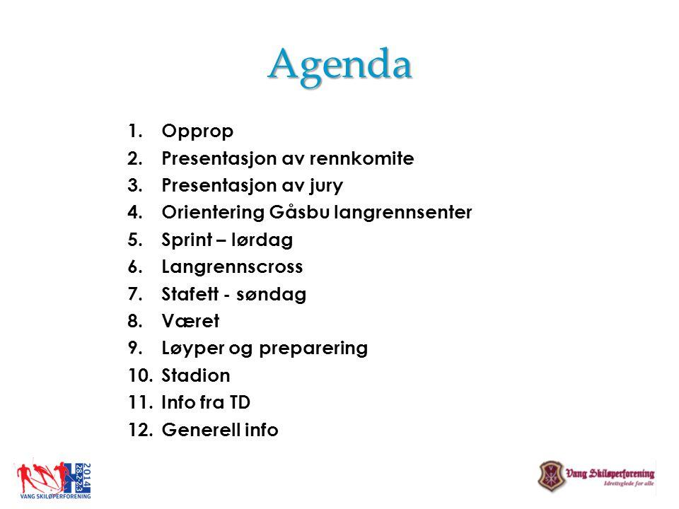Agenda Opprop Presentasjon av rennkomite Presentasjon av jury