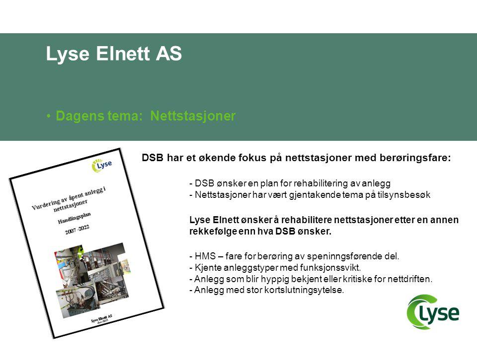 Lyse Elnett AS Dagens tema: Nettstasjoner