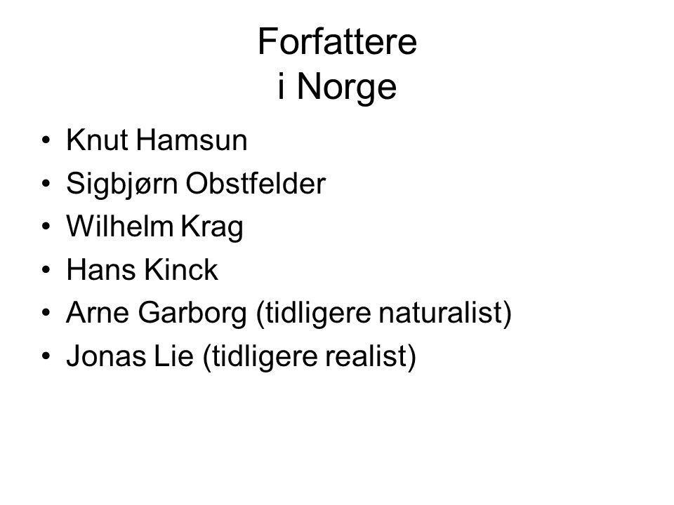Forfattere i Norge Knut Hamsun Sigbjørn Obstfelder Wilhelm Krag