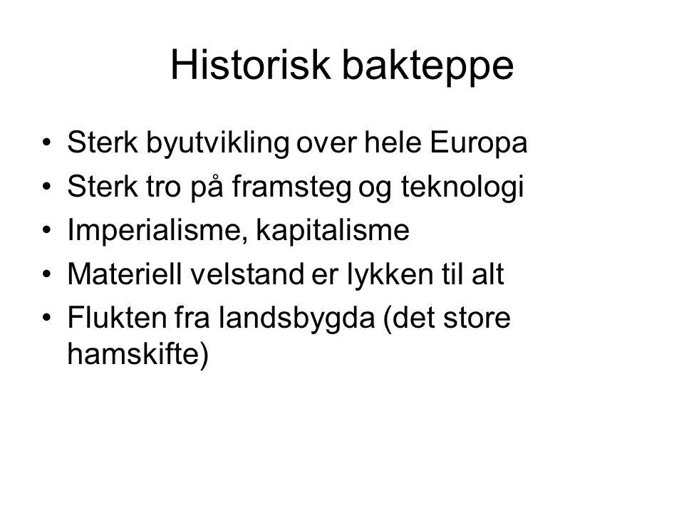 Historisk bakteppe Sterk byutvikling over hele Europa