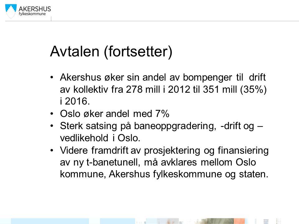 Avtalen (fortsetter) Akershus øker sin andel av bompenger til drift av kollektiv fra 278 mill i 2012 til 351 mill (35%) i 2016.