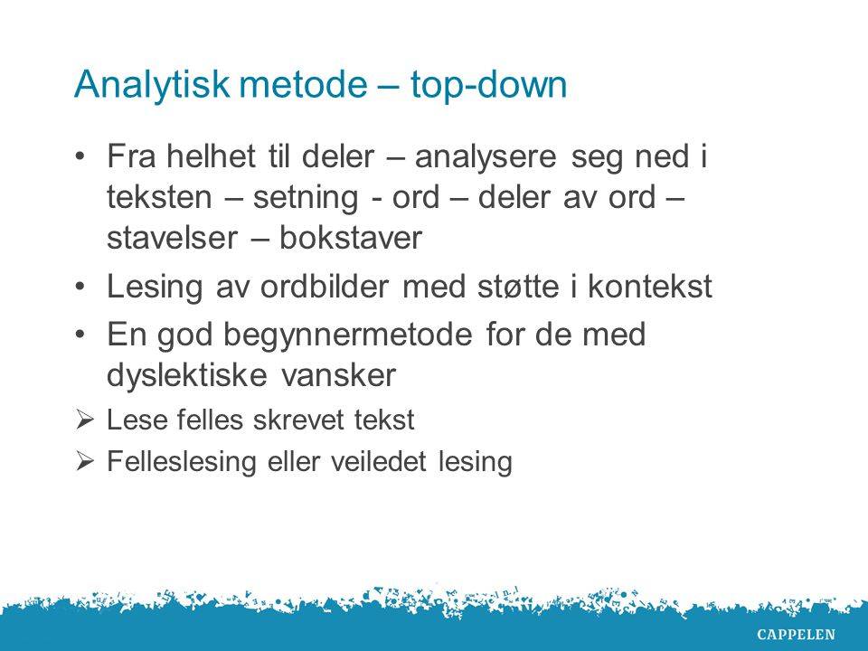 Analytisk metode – top-down