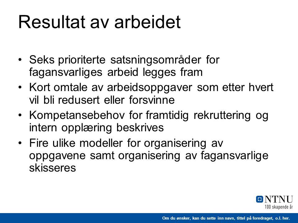 Resultat av arbeidet Seks prioriterte satsningsområder for fagansvarliges arbeid legges fram.