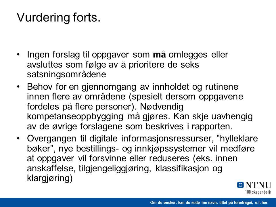 Vurdering forts. Ingen forslag til oppgaver som må omlegges eller avsluttes som følge av å prioritere de seks satsningsområdene.