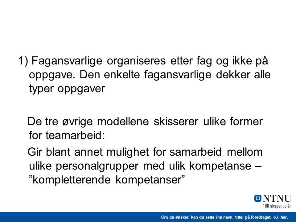 1) Fagansvarlige organiseres etter fag og ikke på oppgave