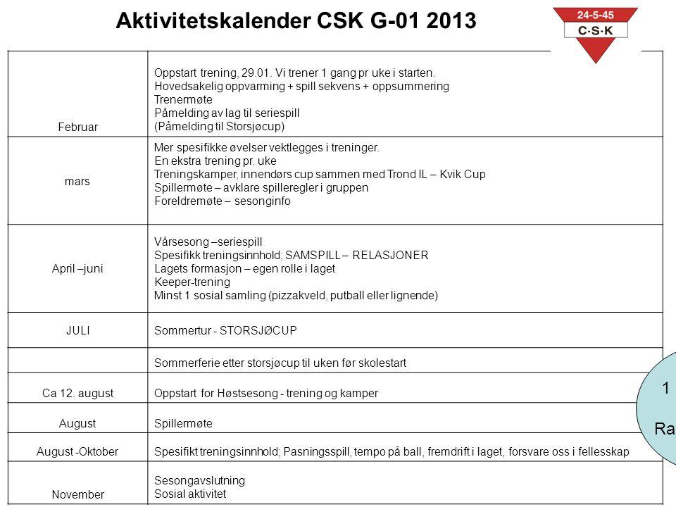Aktivitetskalender CSK G-01 2013