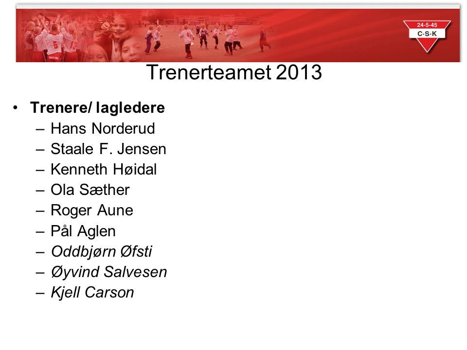 Trenerteamet 2013 Trenere/ lagledere Hans Norderud Staale F. Jensen