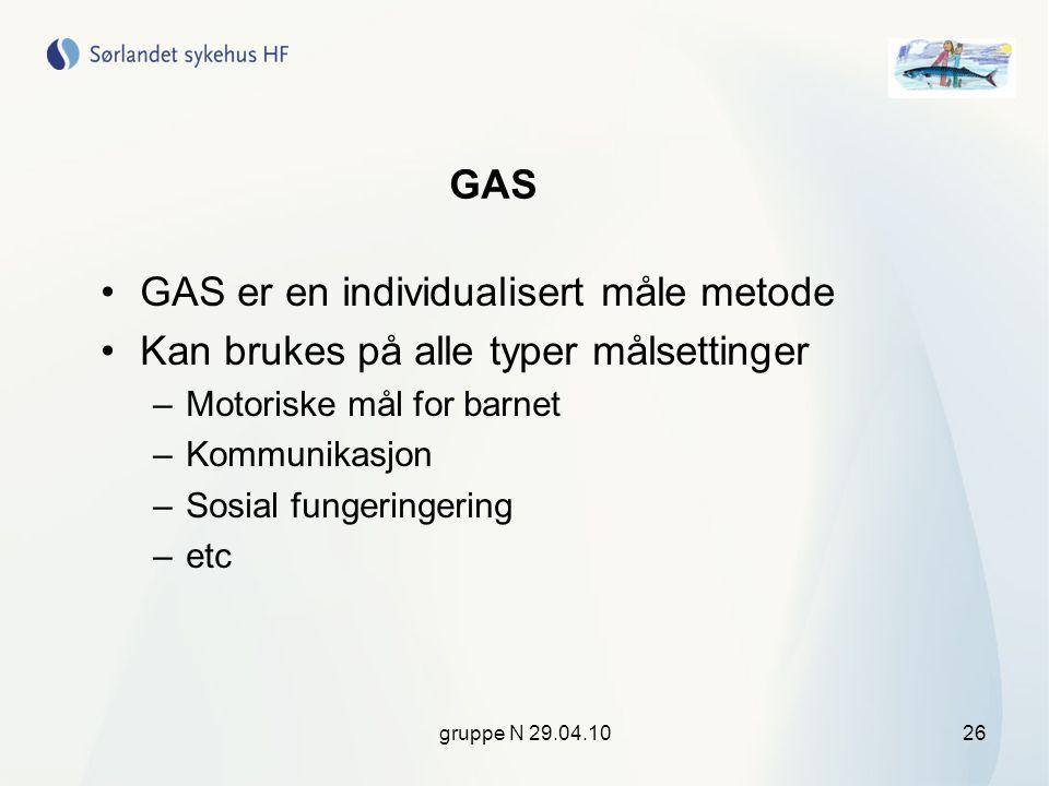GAS er en individualisert måle metode