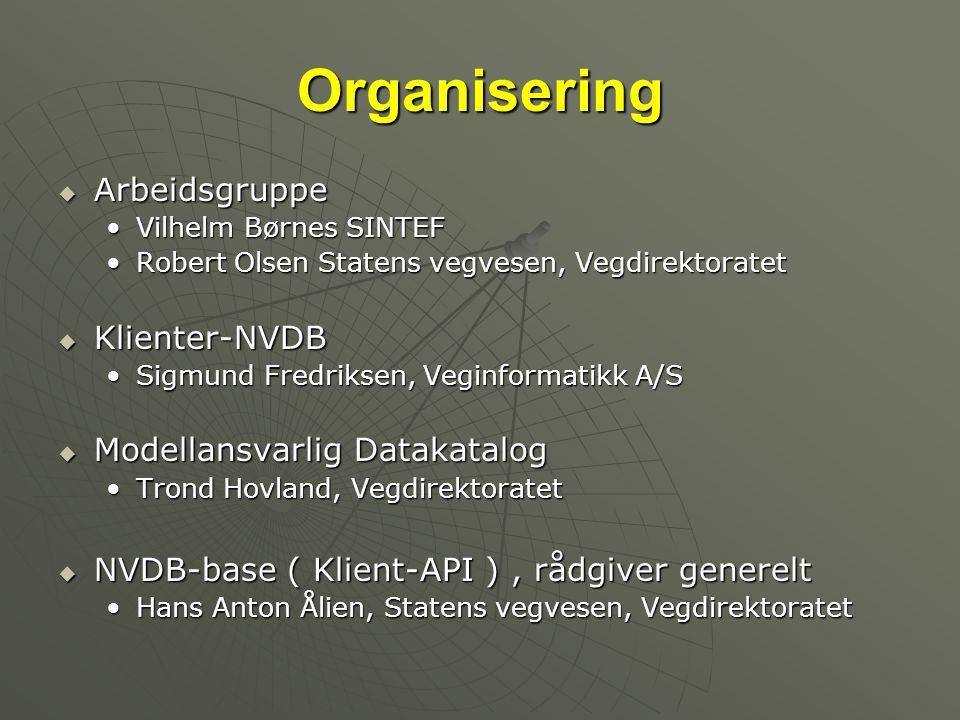 Organisering Arbeidsgruppe Klienter-NVDB Modellansvarlig Datakatalog