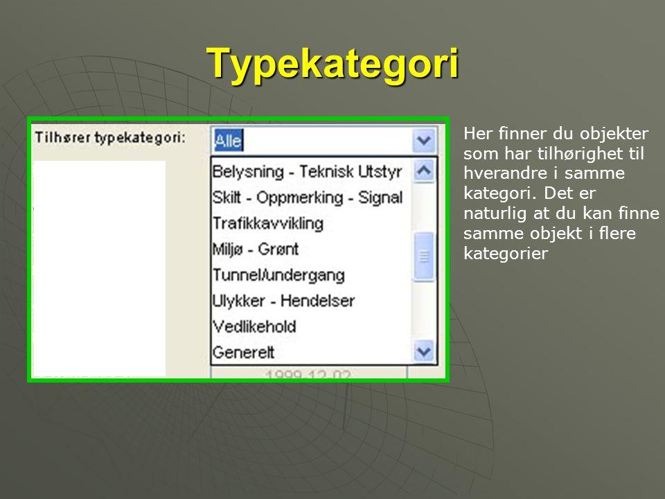 Typekategori Her finner du objekter som har tilhørighet til