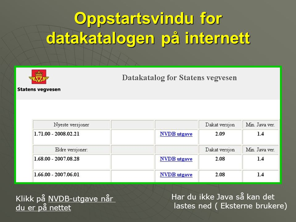 Oppstartsvindu for datakatalogen på internett