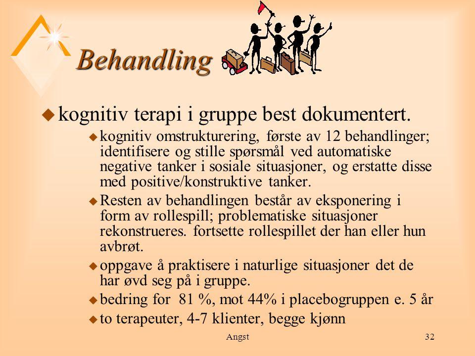 Behandling kognitiv terapi i gruppe best dokumentert.