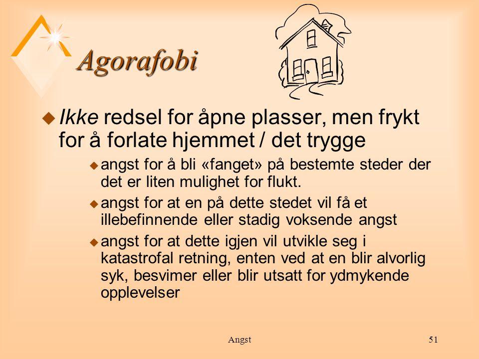 * 07/16/96. Agorafobi. Ikke redsel for åpne plasser, men frykt for å forlate hjemmet / det trygge.