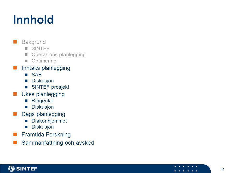 Innhold Bakgrund Inntaks planlegging Ukes planlegging Dags planlegging