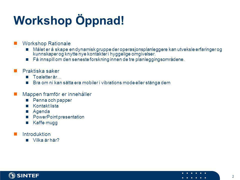 Workshop Öppnad! Workshop Rationale Praktiska saker