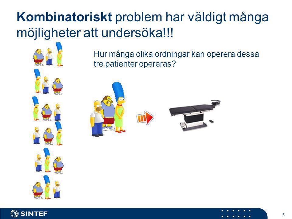 Kombinatoriskt problem har väldigt många möjligheter att undersöka!!!