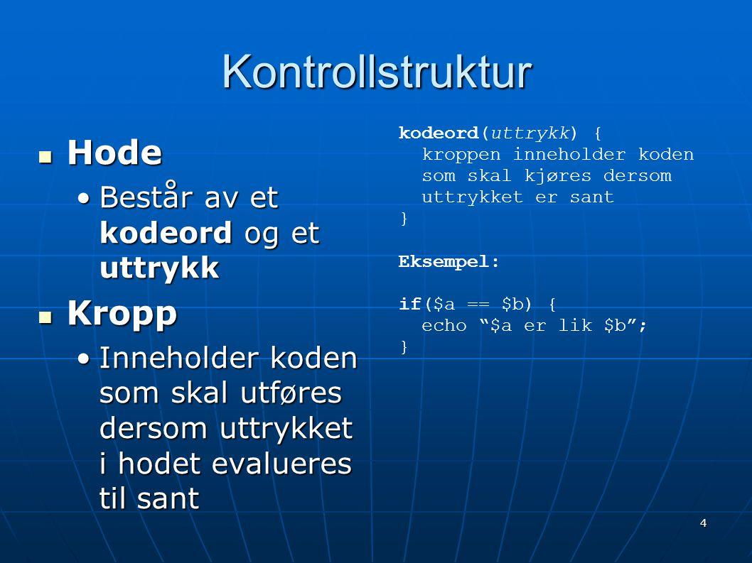 Kontrollstruktur Hode Kropp Består av et kodeord og et uttrykk