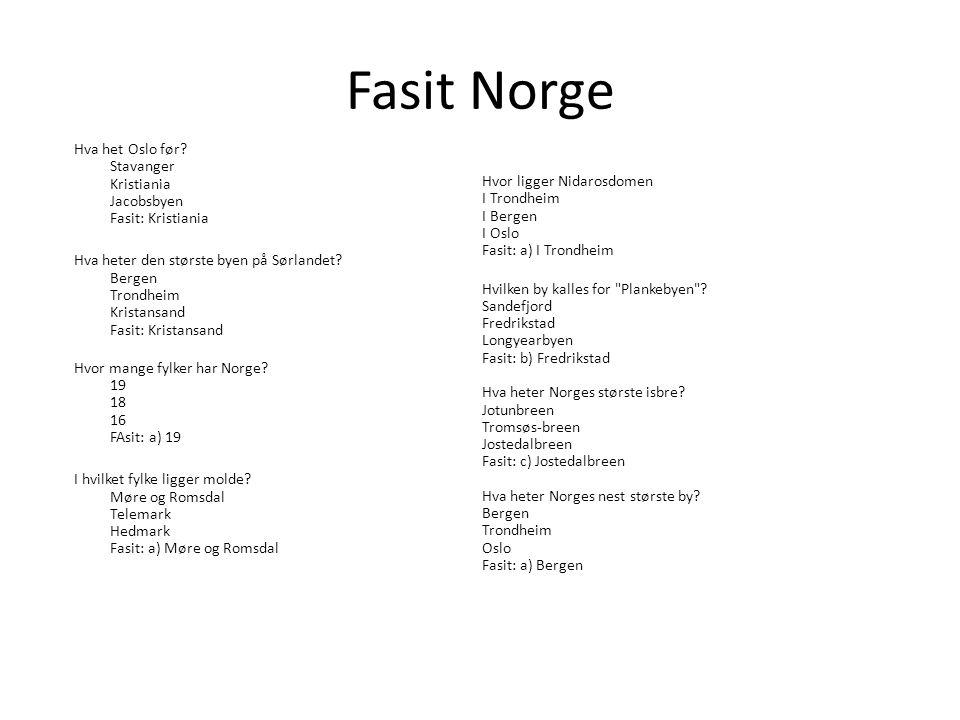 Fasit Norge Hva het Oslo før Stavanger Kristiania Jacobsbyen Fasit: Kristiania.